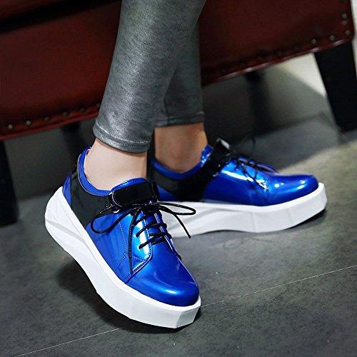 Mee Shoes Damen Klettband Lackleder Durchgängiges Plateau Pumps Blau