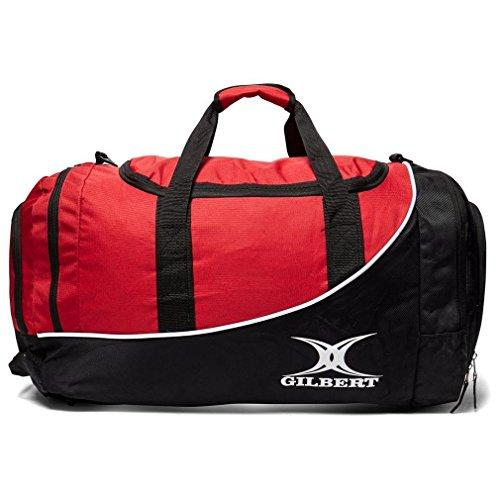 Gilbert Rugby Club Sporttasche Senior Spieler Reistasche Großes Fach schwarz - schwarz / rot