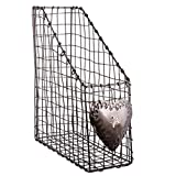 Loosely Woven Wire Frame Magazine Box Magazine Holder Rack - Ideal For Any Home Office Or Bedroom - W10 x H30 x D26 by Dibor