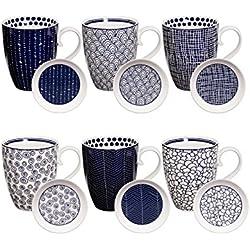 Tokyo Design Studio Le Bleu de Nîmes Tassen Set mit Deckel aus hochwertigem Porzellan. 6-er Set Tassen mit Henkel. Jede Kaffeetasse / Teetasse fasst 380 ml. Spülmaschinenfest. Mikrowellengeeignet.
