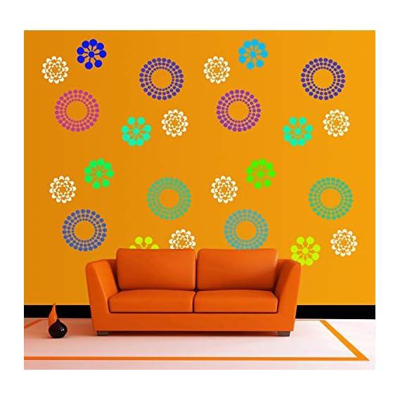 DECORNOW Plastic Reusable Wall Painting Stencil for Home Decoration; 16 x 24 inch; Multicolour