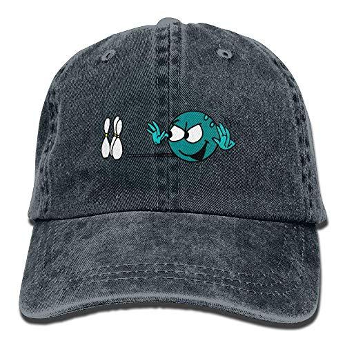 J5E7JYTE Comical Bowling Denim Hat Adjustable Plain Baseball Caps -