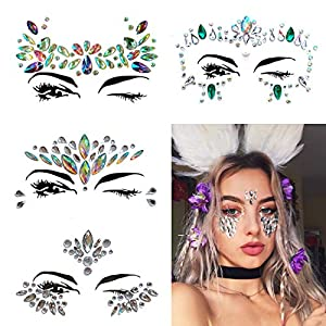 Face Gems, 4 Pcs Women Face Jewels Crystal Face Glitter Rhinestone Bindi Temporary Tattoo Face Eyebrow Body Stickers for Rave Festival Party