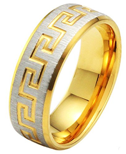 SaySure Mens Rings Stainless Steel Gold Filled Rings (SIZE : 8)