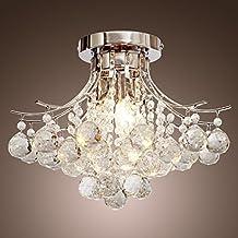 Saint Mossi® Lámpara de cristal moderno con 3 luces, candelabros empotrados Lámpara de techo con placa de techo cromado