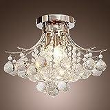 Saint Mossi Modern K9 Crystal Lámpara de araña de lluvia Iluminación Montaje empotrado Lámpara de techo de LED Lámpara colgante para comedor Baño Dormitorio Ancho de la sala 40 x altura 28 cm