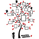 TOYMYTOY Family Photo Tree Wall Stickers Wall Mural DIY Home Art Decor 82.4 X 100CM (Black And Red)