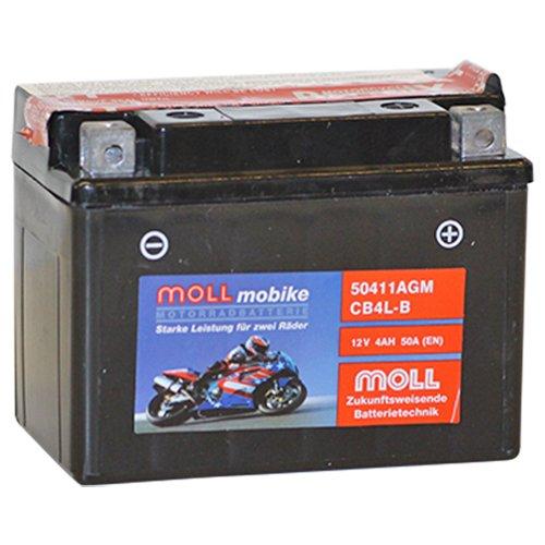 Moll mobike AGM Motorradbatterie CB4L-B Bike-Power 4Ah 12V 50A - 50411