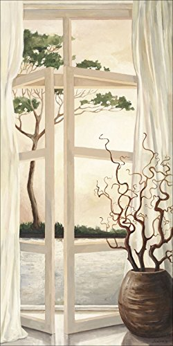 elbstklebend aus Vliesstoff oder Vinyl-Folie Andres Fensterbild - Toskanischer Sonnenuntergang Landschaften Fensterblick Malerei Creme A5LY (Preiswerte Vasen)