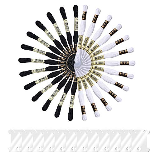 Onepine 26 Skeins Stickgarne darunter 13 Schwarz und 13 Weiß Stickgarne aus 100{c5c9ebb2c1df528f56f9c56a3b3214c5c3553668636da41ef729a0f8dae395e0} Baumwolle mit 12 Stück Floss Spulen perfekt für Freundschaftsbänder und Zum Nähen von Stickereien