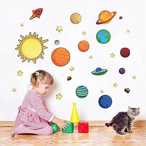 Docliick® Vinilos infantiles o decorativos de  Universo de Planetas y naves espaciales, para dormitorio de niño o niña, reutilizable, no deja