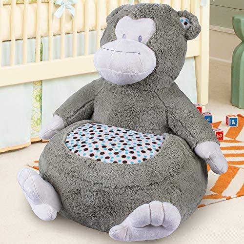 Bakaji home divano poltroncina divanetto bambini maxi peluche forma animale sedia con seduta imbottita arredo stanzetta cameretta bimbi, poltrona soffice alta qualità (scimmia)
