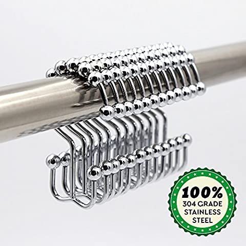 Kusun® Haute qualité en acier inoxydable antirouille Glide Double douche Rideau crochets SG001