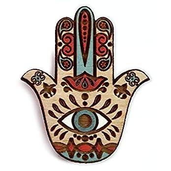 Telestic Design Hamsa Heiliger Schutz Symbol Holz Brosche | Hand von Fatima Holz Mütze