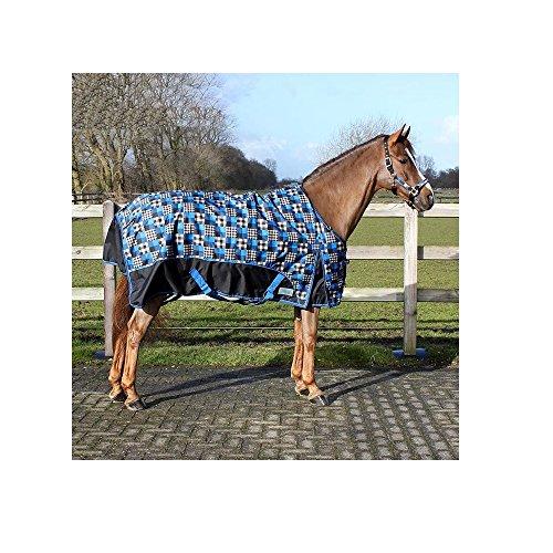 netproshop Fleece Regendecke wasserdicht und wärmend schwarz-blau kariert Größe 105-155, Groesse:135