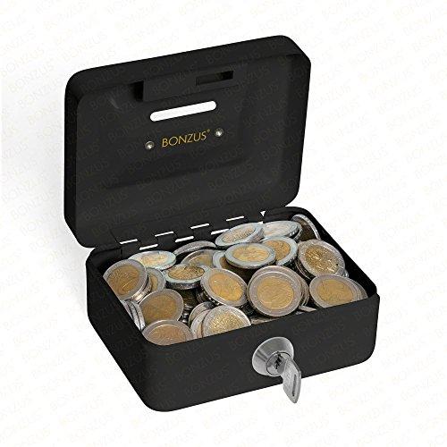Minigeldkassette Sparkassette BZ-17 von Bonzus® Kleine Mini Geldkassette mit Einwurfschlitz Münzeinwurf (schwarz)