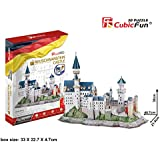 128 Pcs 3d Puzzle Cubic Fun Model MC174H Includes Booklet with Instructions And The History of the Magnificent Palace NEUSCHWANSTEIN CASTLE In Germany, Popular Castle in Europe, Great Gift for Boys and Girls by CUBICFUN