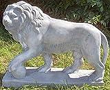 Casa-Padrino Escultura Decorativa león con Bola Izquierda Gris 75 x 22 x H. 58 cm - Magnífica Decoración de Jardín