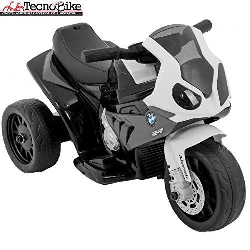 Moto Motocicletta Elettrica per Bambini BMW S 1000 RR Batteria 6V Ricaricabile Triciclo 3 Ruote Fari Funzionanti con Luci e Suoni (Nero)