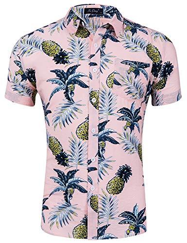 Loveternal Hawaii Hemd Ananas Herren 3D Druck Cooler Grafik Kurzarm Hawaii Shirt Freizeit Bunte Baumwolle Sommer Hemden Rosa M