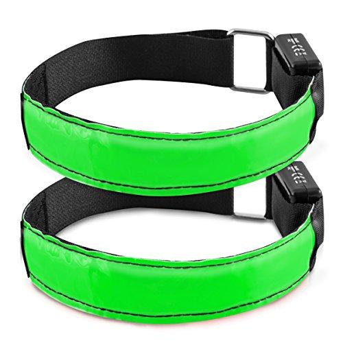 kwmobile 2x LED Leucht Armband - XL Sicherheitsband für Outdoor Sport Joggen Fahrrad Hundehalsband helles Blinklicht reflektierend bei Dunkelheit - grün
