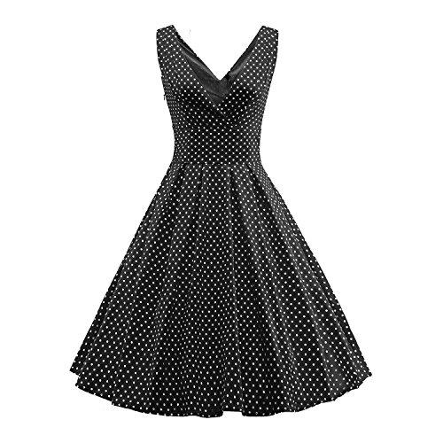 LUOUSE 1950 Weinlese Frauen Polka Punkt Schwingen Abend Kleid Schwarz