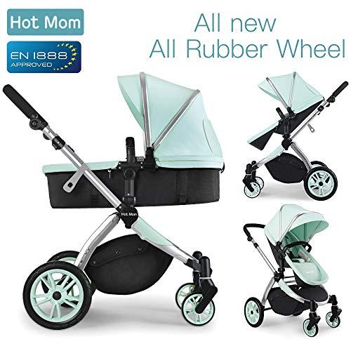 Hot Mom Multi Kinderwagen Kombikinderwagen 2 in 1 mit Buggy 2018 neues Design, Babyschale separat erhältlich – Green