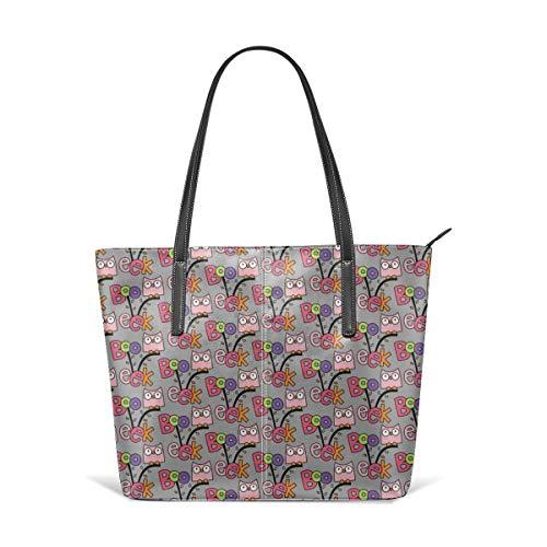 Damen Tasche aus weichem Leder Schultertasche Doodle Owls Pink auf hellgrauem Halloween Fashion Handtaschen Satchel Purse (Lady Pink Halloween Tote)