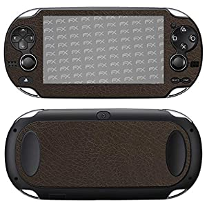atFoliX Skin kompatibel mit Sony PlayStation Vita, Designfolie Sticker (FX-Leather-Brown), Feine Leder-Struktur