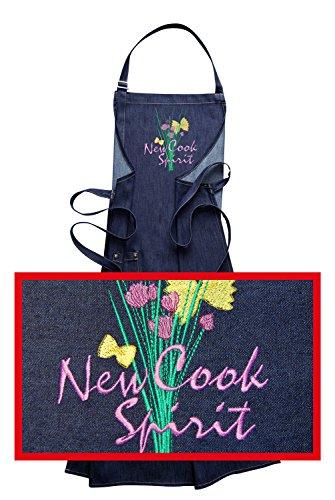 Jeans di grembiule con Ricamo New Cook Spirit, Grembiule ricamato di alta qualità, tessuto denim/Jeans, Grembiule e ricamo produzione tedesca