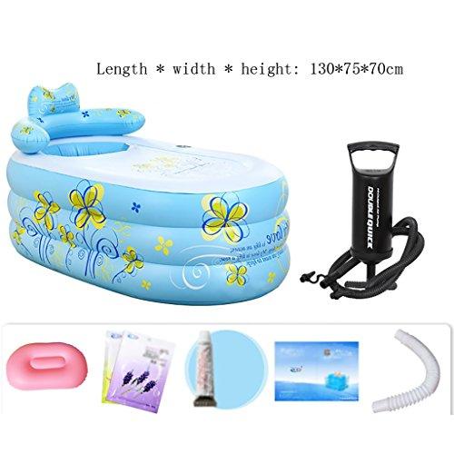 Yugang aufblasbare wanne Aufblasbare Badewanne Erwachsenen Portable Faltbare PVC Spawanne mit Luftpumpe Badesets für unterwegs faltbar Badewanne für Babys (Farbe : A, größe : 130 * 75 * 70cm)