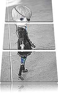 jolie rebelle poupée Pullip eyepatch blanc spécial 3-pièces image en noir / toile l'image 120x80 sur toile avec, XXL énormes Photos complètement encadrée avec civière, art impression sur murale avec cadre, moins cher que la peinture ou la peinture à l'huile, aucune affiche ou un poster
