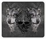Wolf Mouse Pad, Abstract Skull Figure Between Two Canine Animals Wildlife Grunge Tattoo Like Artwork, Standard Size Rectangle...