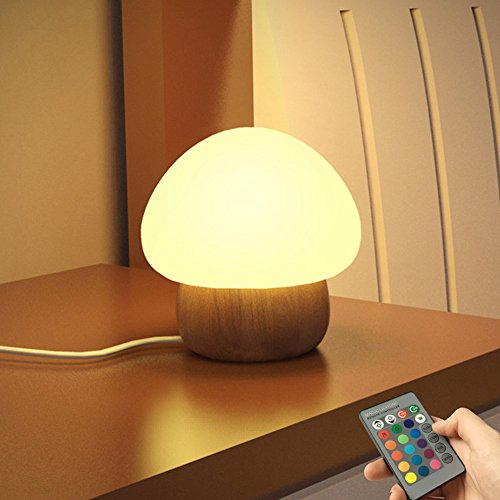 NNIUK Night Light LED Mushroom Lamp Silicone with Wireless Remote Control 16 Different Color for Kid Bedroom - UK Plug