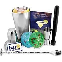 Juego de Cóctel, con libro (idioma español no garantizado), coctelera, vaso medidor, mortero, cuchara para mezclar y 24sombrillas de cóctel de papel