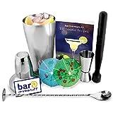 Ce kit de fabrication de cocktails , contient les indispensables de barman: Un Shaker,un doseur à double embout,cuillère torsadé,un pilon,et un livre de recette en Anglais