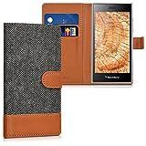 kwmobile Hülle für Blackberry Leap - Wallet Case Handy Schutzhülle Kunstleder - Handycover Klapphülle mit Kartenfach und Ständer Anthrazit Braun