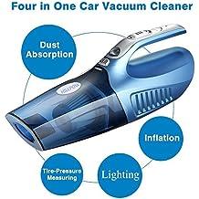 HILLPOW 4 en 1 en seco y en mojado Aspiradora de mano, Aspirador para coche 12V 100W-Azul
