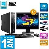 HP PC Compaq Pro 6300 SFF I7-3770 4Go 480Go SSD Graveur DVD WiFi W7 Ecran 17'