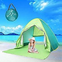 monojoy Pop Up tienda de campaña Sun refugio cortina de con cremallera para mujer (protección UV protección ligera para playa jardín pesca portátil tienda de campaña para niños bebé Niños (verde)