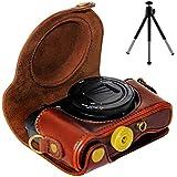 First2savvv XJPT-HX90-10 brun foncé PU cuir étui housse appareil photo numérique pour Sony Cyber-Shot DSC HX90 WX300 + trépied