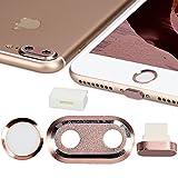 kwmobile 4en1: Protección para cámara de Smartphone y Set Antipolvo - Tapones Protectores para Apple iPhone 7 Plus / 8 Plus - en Oro Rosa