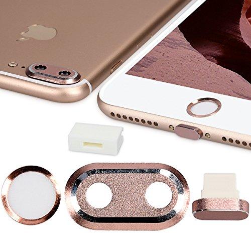 kwmobile 4en1: Proteccion para camara de Smartphone y Set Antipolvo - Tapones Protectores para Apple iPhone 7 Plus / 8 Plus - en Oro Rosa