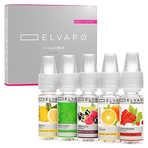 Elvapo Premium Plus E-LIQUID-BOX, Extra starker Geschmack, Johannisbeere, Orange, Waldfrucht, Waldmeister, Zitrone, 5 x 10 ml