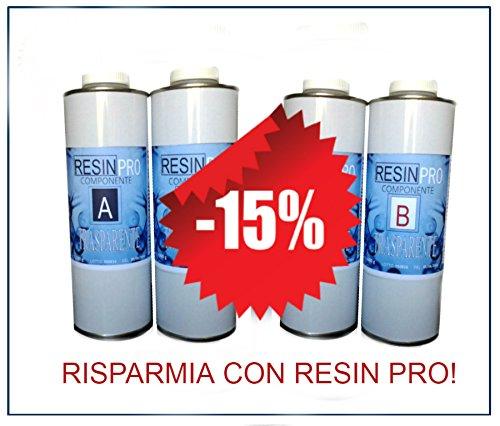 – RESINA EPOSSIDICA TRASPARENTE Set resina epossidica trasparente multi-uso, kg 1,6, effetto acqua