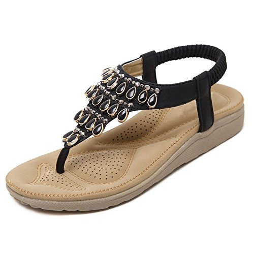 COOLCEPT Donne Moda Basse Sandals Beaded Scarpe da Estate 1457nero