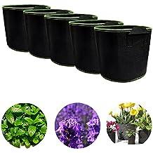 xshelley 5-Pack jardín Plantar Bolsa de 5galones, hogar jardinería tela de aireación macetas Containe, respetuoso con el medio ambiente bolsas de cultivo para tomates, frutas, hortalizas, flores y plantas
