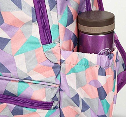 FZHLY Grande Capacità Pratica Student Travel Zaino Di Modo Di Stampa Zaino,Purple Purple