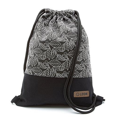 By Bers LEON Turnbeutel mit Innentaschen in Schwarz-Weiß Rucksack Tasche Damen Herren & Teenager Gym Bag Draw String (Blätter)