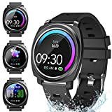 Smart Watches,Fitness Tracker Smartwatch IP68 Waterproof Fitness Watch with Heart Rate Monitor Pedometer Step Counter Sleep Monitor Stopwatch for Men Women for iPhone Android Phone(black)1